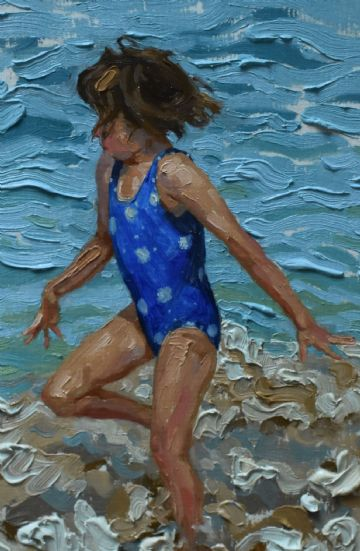 Sheila Tiffin Original Oil Painting Girl Playing At The Beach